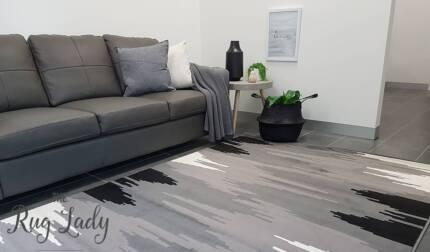 BRAND NEW!!! XX Large Grey & Black Lines Floor Rug