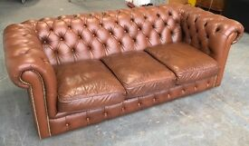 Brown leather 3 seat Chesterfield sofa WE DELIVER UK WIDE