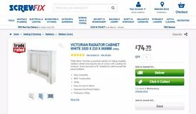 VICTORIAN RADIATOR COVER CABINET WHITE 1020 X 210 X 868MM BRAND NEW SCREWFIX