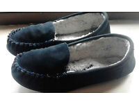 White Faux Fur Lined Navy Blue Genuine Suede Ladies Slippers Moccasins.Size 4.