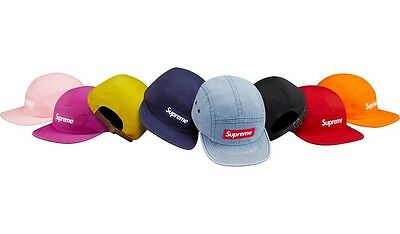 SUPREME Washed Chino Twill Camp Cap Denim Magenta Pink Navy Black box logo  S S17  d70133ad26a
