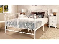 Double bed frame, white Crystal knobs nearly new