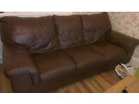 Chocolate premium leather sofa's 3 + 3
