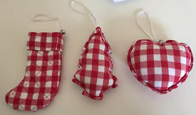 The White Company decorations country shabby chic red white check pattern