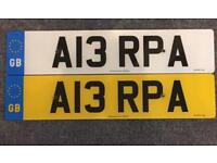 Private number plate A13RPA