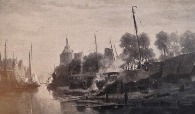 antiker Druck Scheepswerf aan de Binnenhaven te Enkhuizen