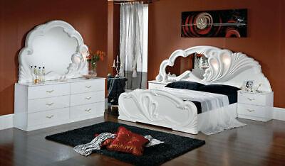 Schlafzimmer-set Kopfteil (BIANCA -  Komplettes Schlafzimmermöbel-Set in Weiss-Hochglanz 6Tlg.)