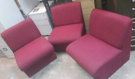 Set of 3 waiting room purple comfortable chairs