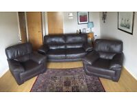 Brown Leather Sofa 3 Piece