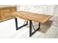 Oak Style Rustic Dining Extending Industrial Table Drop Leaf Hardwood Finish Folding Space Saving