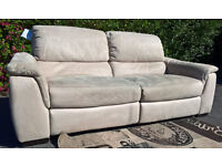 Slightly used 3 Seater Mink Hide Electric Reclining Sofa