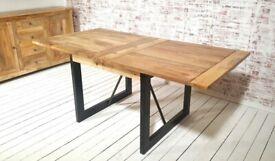 Oak Style Rustic Dining Extending Industrial Table Drop Leaf Hardwood Finish Folding Space Saving