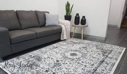 NEW!!! White Grey Power Loomed Floor Rug