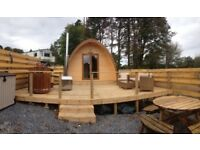 Galloway Lodge Pod with a luxury 2 person wood burning hot tub perfect couples break away from £180