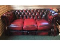 Oxblood leather chesterfield sofa - 3seats