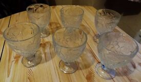 Set of 6 fruit pattern Glass Bowls for Ice Cream, Fruit Trifle, jelly,etc.