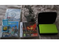 Limited Edition Lime Green Nintendo DS Lite Bundle with Four DS Games and charger, Stylus & case