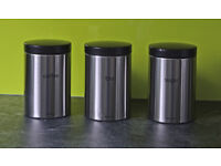 Set Of Three Brabantia Matt Steel Tea Coffee Sugar Canisters