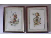 Giordano Signed Framed & Glazed Prints of Children - Boy Fishing, & Girl with Dog amid Birds & Ducks