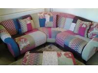 DFS Designer Range Shout Corner Sofa And Foot Stool.