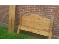 Pine double bed with wood slats