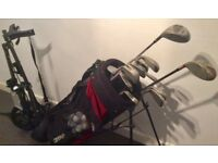 Wilson set of pro staff golf clubs plus bag, trolley and Wilson & Taylor Made drivers