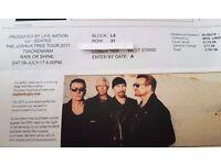 U2 Tickets Joshua Tree Twickenham Sat 8th July. Two tickets. Seated, lower tier.