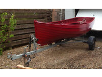13 ft clinker sea-going Dinghy with trailer and metal rowlocks