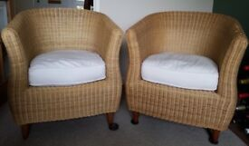 Two wicker chairs ideal for conservatory