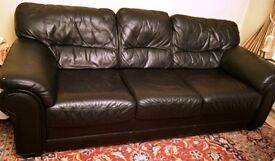 Sofas - 3 seater soft black leather sofa available for collection.