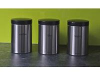 Set Of Three Brabantia Matt Steel Tea Coffee Sugar Canisters.