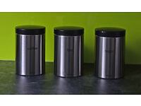 HALF PRICE - Set Of Three Brabantia Matt Steel Tea Coffee Sugar Canisters.