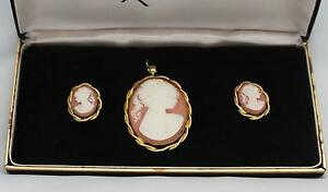 Cameo Pendent and Pierced Cameo Earrings