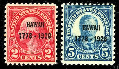 US Scott #647 & 648 Hawaii 2¢ & 5¢ Overprint (1928) SET of 2  MH***FREE SHIP***