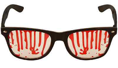 Black Frame Blood Stain Geek Party Glasses Halloween Fancy Dress Costume V09 676 - Halloween Blood Stains