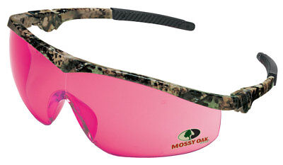 Crews Mossy Oak Storm Tremor Safety Glasses with Pink Lens, Camo Frame