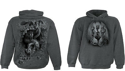 Spiral Direct Hydra Skull Dragon Charcoal Grey Hoodie Hooded Top