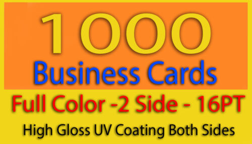 1000 Business Cards Full Color 2 Side Printing 16PT High Gloss UV Coating