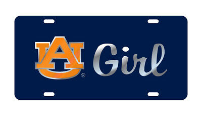 "AUBURN TIGERS Mirrored Navy ""AU GIRL"" License Plate / Car Tag"