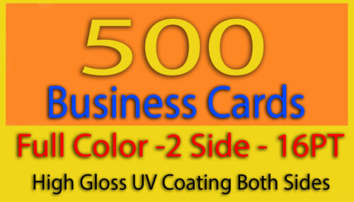 500 Business Cards Full Color 2 Side Printing 16PT High Gloss UV Coating
