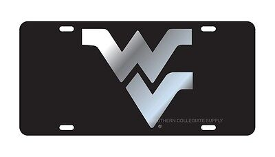 WVU WEST VIRGINIA UNIVERSITY Mountaineers Black Mirrored License Plate / Car Tag