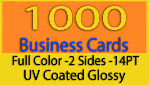 1000 Business Cards Full Color 2 Side Printing High Gloss UV Coating