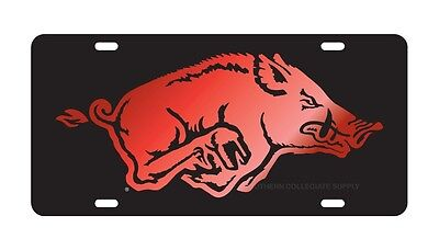 ARKANSAS Razorbacks Black, Red Mirrored Running Hog License Plate / Car Tag (Arkansas Razorbacks Car)