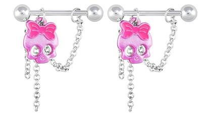 Nipple Shield Rings barbell barbells Cute bright pink skull sold as a pair 14 ga (Skull Nipple Shield)