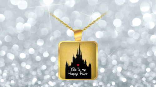 Disney Happy Place Gift for Women Necklace Castle Disneyland