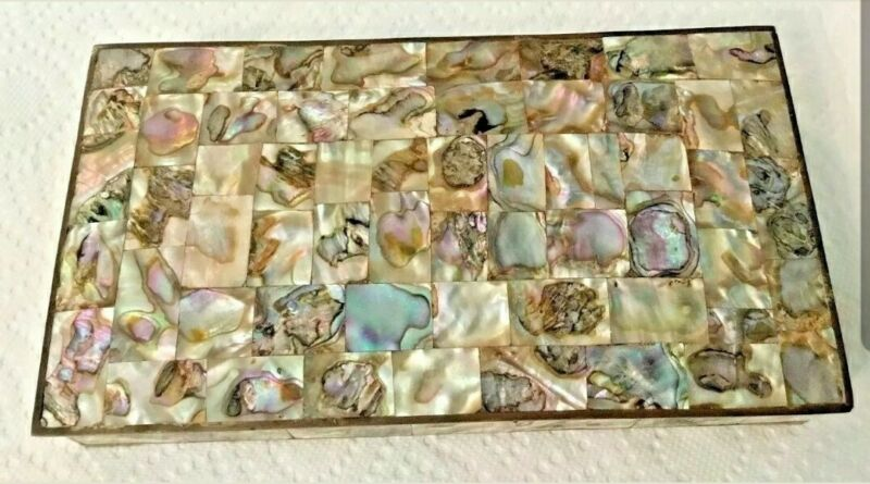 Vintage Abalone Covered Trinket Box Brass and Wood - Beautiful and Well Made