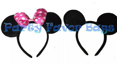 Minnie And Mickey Mouse Ears Headbands Adult Kid Halloween Costume Black Pink](Mickey And Minnie Halloween Costumes)