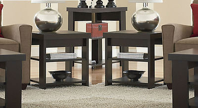 2-Piece Dark Espresso 3-Shelf End Table Set Home Living Room Den Furniture