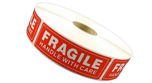 1 Roll 1 x 3 FRAGILE HANDLE WITH CARE Stickers