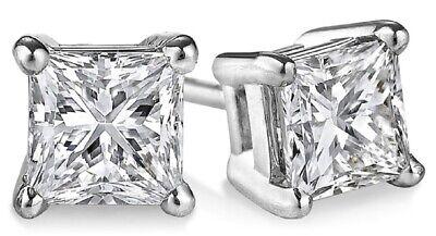 100% Naturale 4.00 Ct. Taglio Princess Fantastico Diamante Orecchini a Lobo 14k